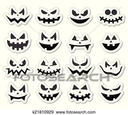 Clip Art of Scary Halloween pumpkin faces icons k21810929 - Search ...