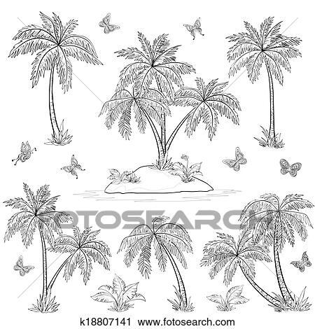 Island Flowers Drawings Clipart Tropical Island