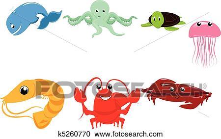 Clipart animali marini cartone animato k5260770 cerca - Clip art animali marini ...