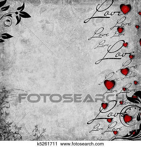 clipart romantische altmodisch hintergrund mit rot herzen und text liebe 1 von set. Black Bedroom Furniture Sets. Home Design Ideas