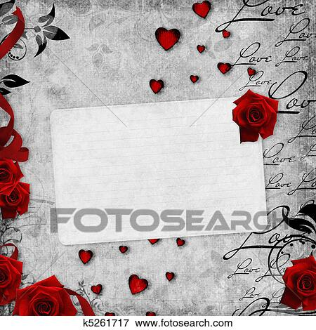stock illustration romantische altmodisch hintergrund mit rote rosen und text liebe 1. Black Bedroom Furniture Sets. Home Design Ideas