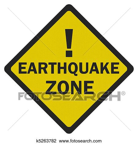 Clip Art of Photo realistic 'earthquake zone' sign ...