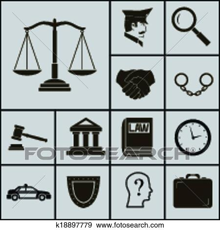 Clip Art Of Law Justice Police Icons And Symbols Silhouette On Gray