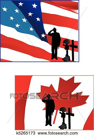 clipart soldier saluting their flags fotosearch search clip art illustration murals
