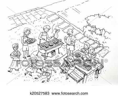 手绘图 - 野外烧烤, 党