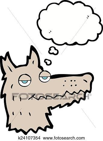 Cute cartoon wolf head