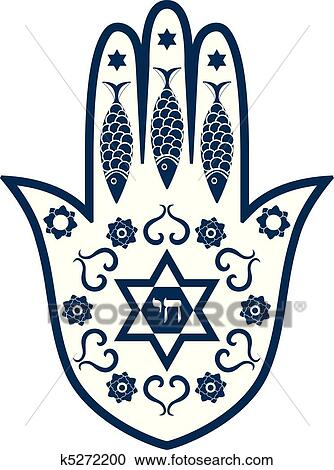 Clipart of Jewish sacred amulet - hamsa or Mir k5272200 ...