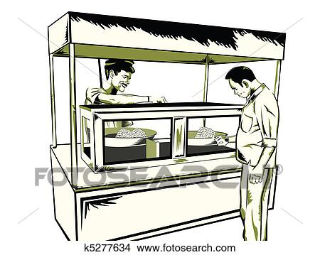 Drawings Of Indian Fast Food Stall K5277634 - Search Clip Art Illustrations Wall Posters And ...