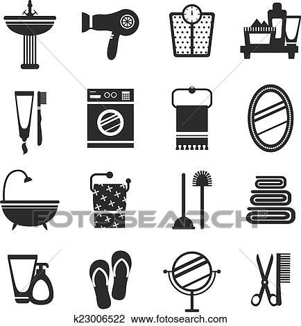 Bathroom Icon Set Black And White Fotosearch Search Clip Art