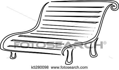 Clip Art - Park bench  contours  Fotosearch - Search Clipart    Park Bench Clipart Black And White