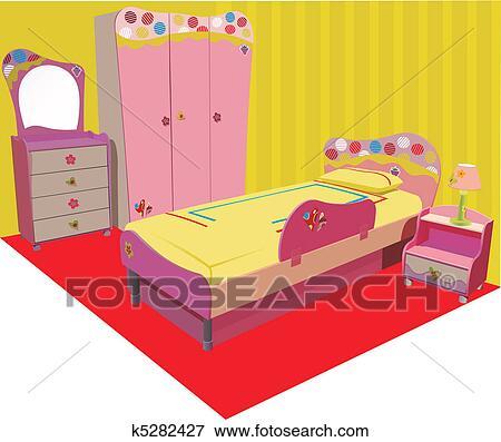 clip art of illustration of the interior children's room in pink
