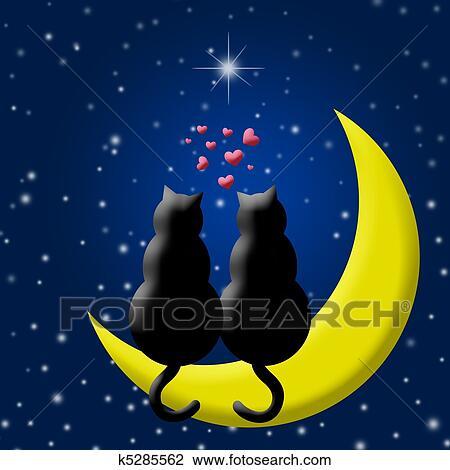 feliz, día de valentines, gatos, enamorado, sentado, en, luna