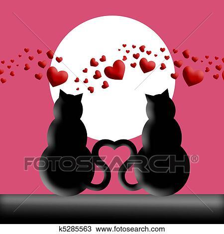 Dibujo , feliz, día de valentines, gatos, enamorado, silueta
