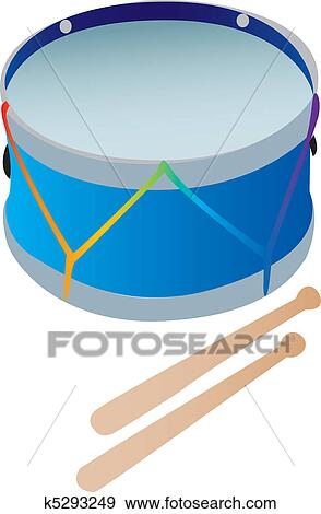 Clip Art Of A Toy Drum With Drumsticks K5293249