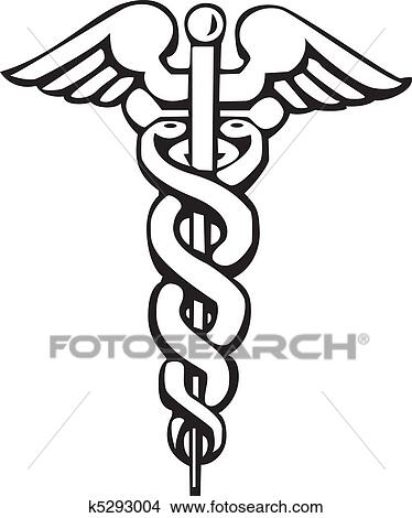 clipart of caduceus greek sign or symbol k5293004 search clip art rh fotosearch com