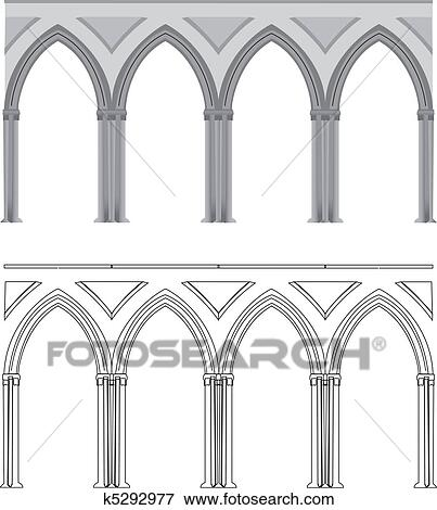 Clip Art Of Gothic Arch And Column K5292977