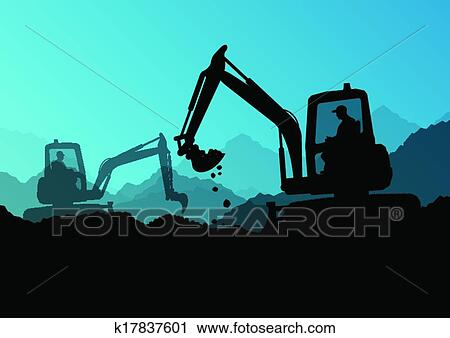 Clipart of Excavator bulldozer loaders, tractors and ...