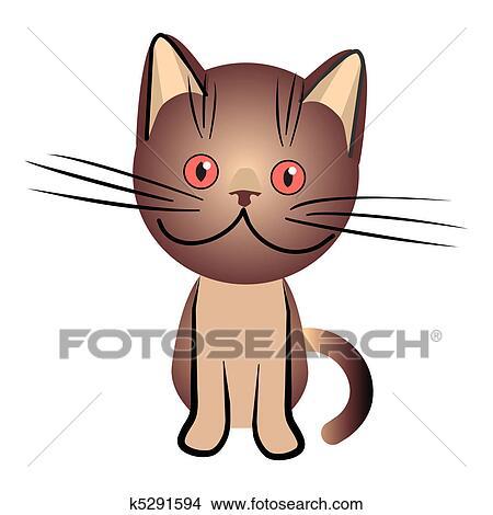 手绘图 - 矢量, 巧克力, 英国人, 猫, 带, 桔子, 眼睛.图片