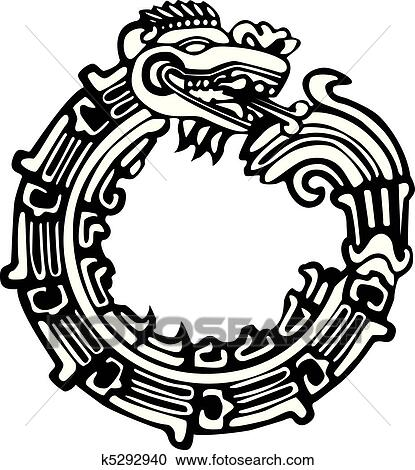 Clipart of aztec maya dragon tattoo k5292940 search clip for Aztec mural tattoos