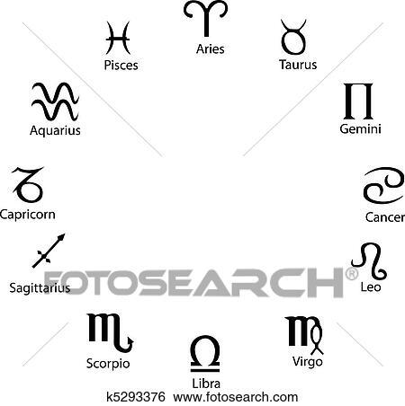 Clipart astrologie symboles entiers vecteur grand pour dessin mod les ou tatouage - Cancer et sagittaire au lit ...