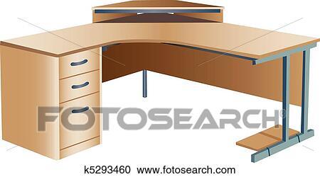 Clipart inclin bureau faisant coin bureau k5293460 - Plan de bureau en bois ...