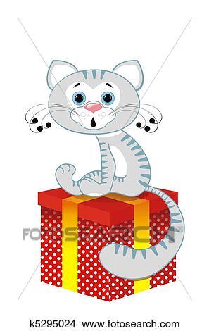 手绘图 - 灰色的猫, 在上, a, 盒子图片