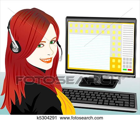 Clipart of vector young beautiful girl telephone operator k5304291 ...