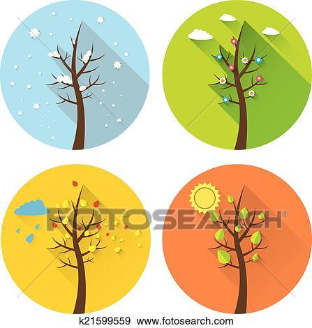 剪贴画 - 矢量, 旗帜, -, 四个季节图片