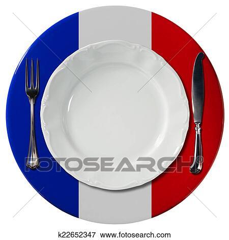Stock Illustration - französische küche, -, platte, und, besteck ...   {Französische küche clipart 22}