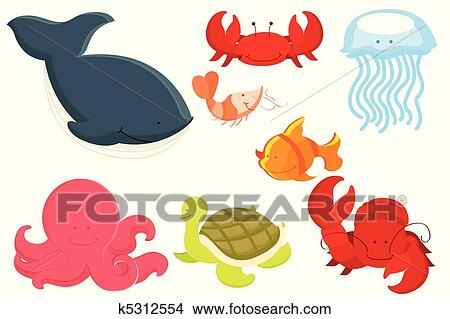 Clipart animali marini cartone animato k5312554 cerca - Clip art animali marini ...