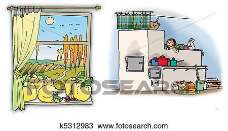 手绘图 - 乡村, 房子,