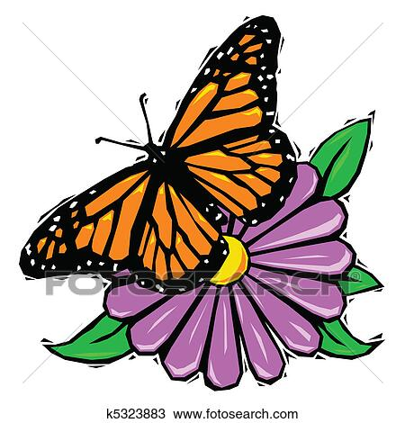 Clipart of Woodcut butterfly on flower k5323883 - Search ...