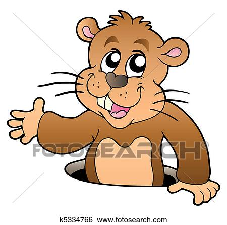 clip art of cartoon groundhog lurking from hole k5334766 search rh fotosearch com groundhog clipart images groundhog clipart images