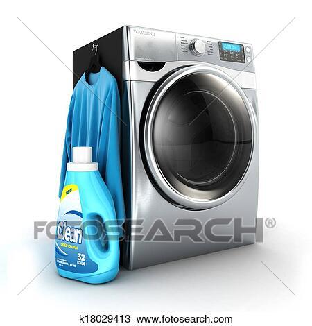 手绘图 - 3d, 洗衣机