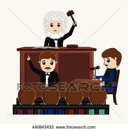 Clipart of Judge Striking on Desk in Courtroom k40843433 - Search ...