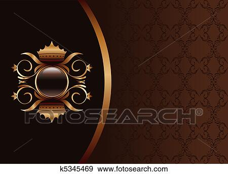 Arkiv illustrasjon - illustrasjon, det, sort, gull, brun, invitasjon