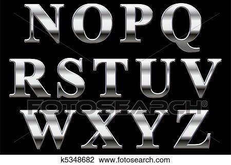 Clip Art Of Chrome Alphabet Letters N Z K5348682 Search