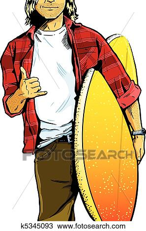 clipart of male surfer dude carrying a surfboa k5345093 search rh fotosearch com Animated Surfer Hippie Surfer Dude