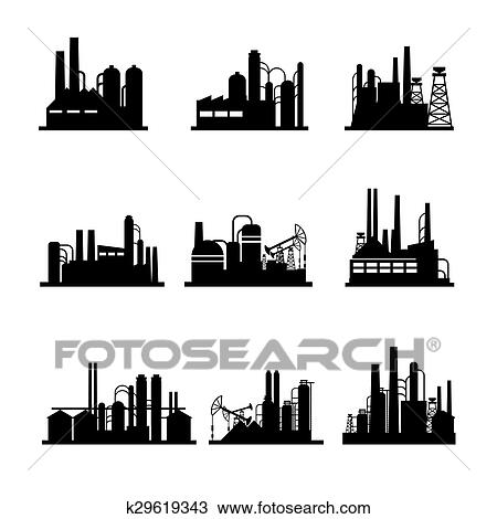 Clipart of Oil refinery and oil processing plant icons k29619343 ...