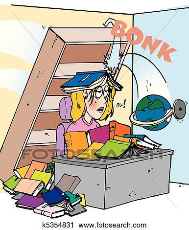 Bücherregal clipart  Clipart - kopf, bonk, bücherregal k5354831 - Suche Clip Art ...