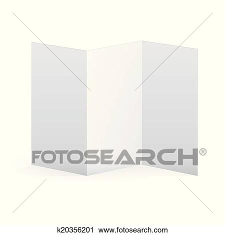 Clipart Of Blank Vector White Tri Fold Brochure Template