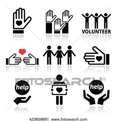 Clipart of Volunteer, people helping icons k23658681 - Search Clip ...
