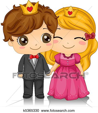 King And Queen Cartoon Drawing Stock Illustration King And