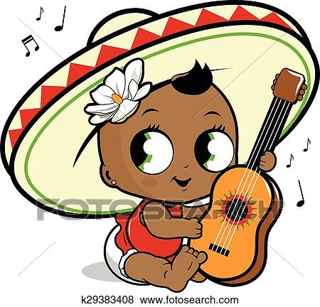 clip art of mariachi baby girl playing guitar k29383408 search rh fotosearch com mexican mariachi clipart Mariachi Band