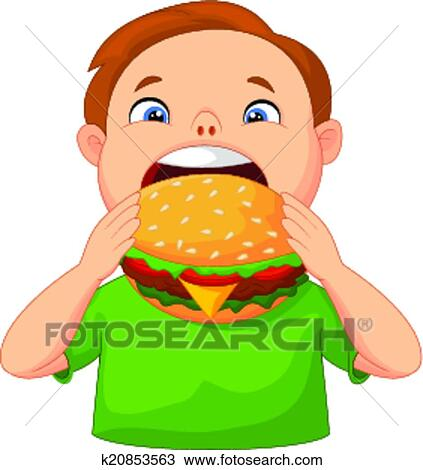 Clipart gar on dessin anim manger hamburger for Salle a manger dessin anime
