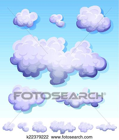 Clipart of Cartoon Smoke, Fog And Clouds Set k22379222 - Search ...