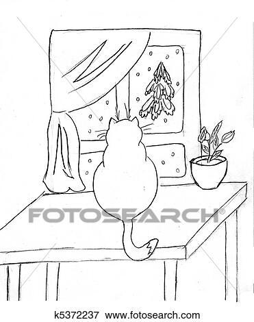 Archivio illustrazioni disegno di il gatto su for Disegno di finestra aperta