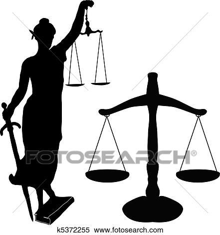 Clipart of Justice statue and libra k5372255 - Search Clip ...