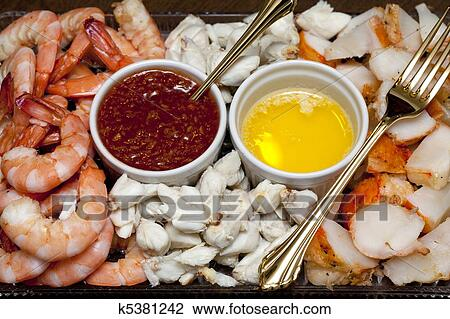 Stock Photo of Shrimp, crab meat and lobster on a plate ...