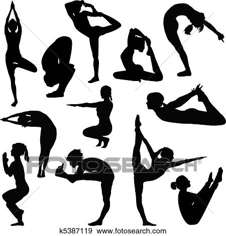 Clip Art of Different yoga poses k5387119 - Search Clipart ...